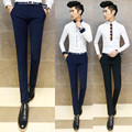 2016 new men's business casual pants Fashion personality Slim solid color pants feet Micro-bomb tight trousers male pants