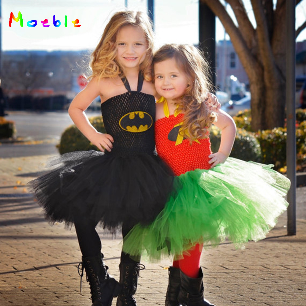 Batman and Robin Kids Party Dresses Tulle Dress for Girl Tutu Dress Baby Clothes Halloween Christmas Children Cosplay Costume in Dresses from Mother Kids