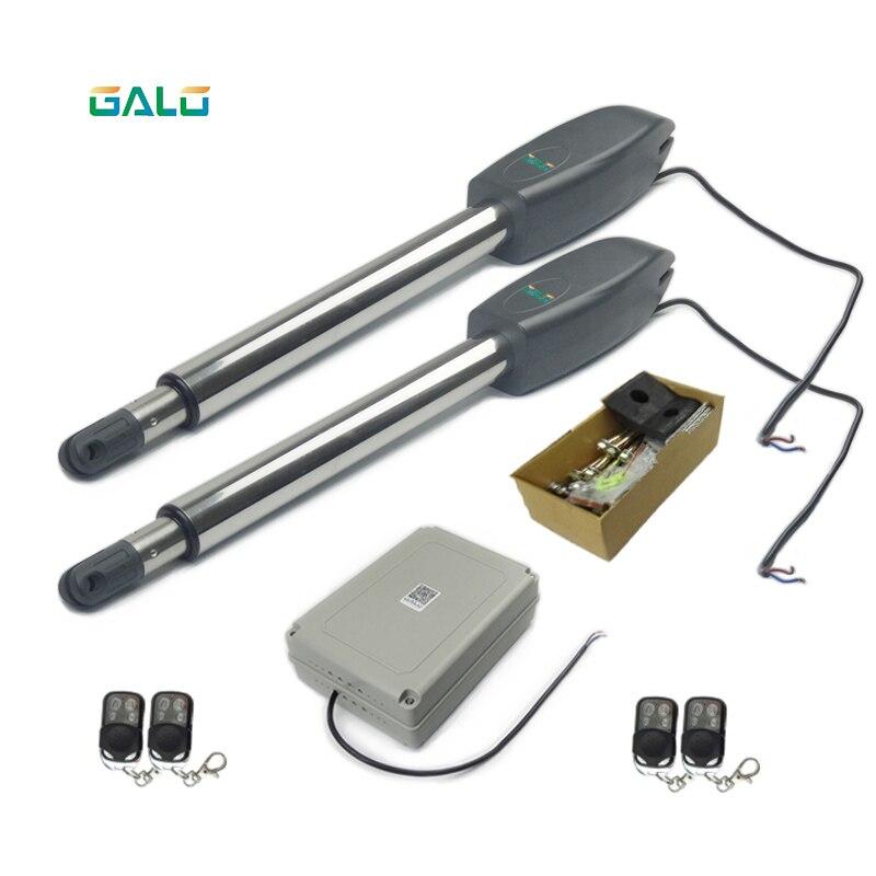 Solar WiFi controlled heavy-duty door opener with two-arm swing door revolving door motor with infrared alarm device gate opener