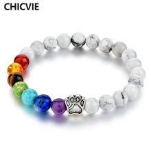 Браслет для йоги chicvie лапа натуральный камень бусина эластичный