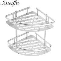 Xueqin Wall Mounted Bathroom Shower Storage Shelves Shelf Holder Rack Basket Space Aluminium Dual Layers Bath