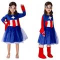 OHCOS Fiesta de Halloween Cosplay Traje de Carreras Traje de Capitán América Capitán Costume For Kids Azul Vestido Lolita Vestido