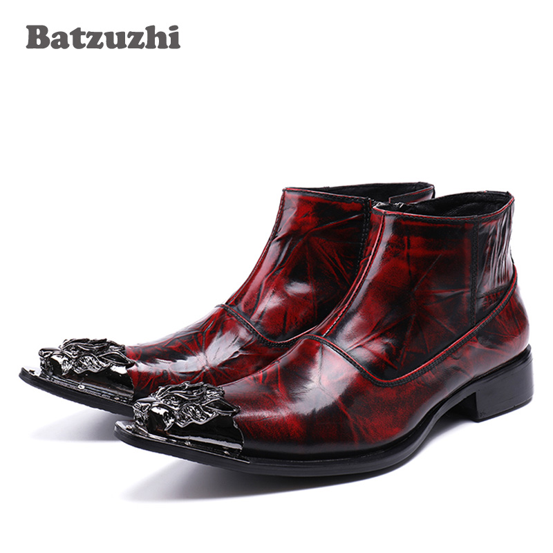 Batzuzhi 2018 New Rock Japanese tyle Fashion Men Boots Pointed Toe Wine Red Luxury Men Dress Boots Shoes Leather, Big Size 38-46