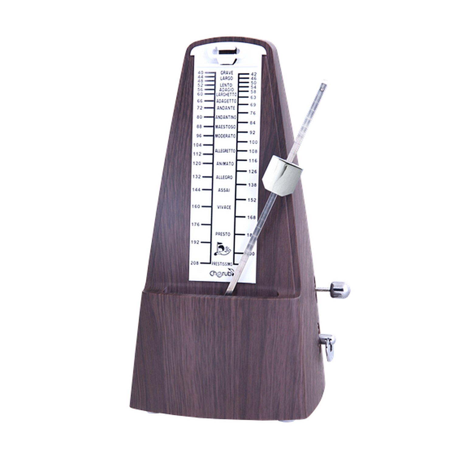 Cherub Walnut Wood Grain Mechanical Metronome Downbeats  Traditional tower shape Spring Mechanism 40 to 208 bpm Variable Tempo cherub wsm 330 rose wood cherry wood mechanical metronome musical instrument tempo beat rhythm