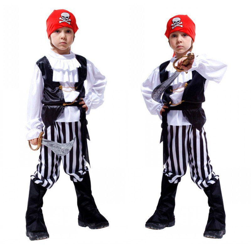 Kids Movie Boys Pirates of the Caribbean Costume Children Christmas Halloween Jack Sparrow Sailor Cosplay Masquerade Purim dress