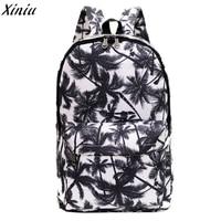 Palm Leave Women Men Canvas Waterproof Backpack Brand New Bookbag Rucksack Zipper Shoulder Bag Satchel Sac
