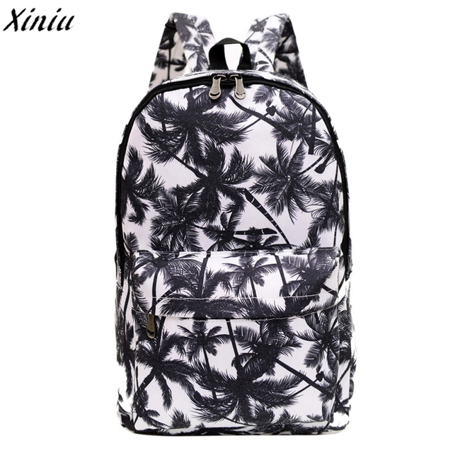 Palm Leave Women Men Canvas Waterproof Backpack Brand New Bookbag Rucksack Zipper Shoulder Bag Satchel Sac