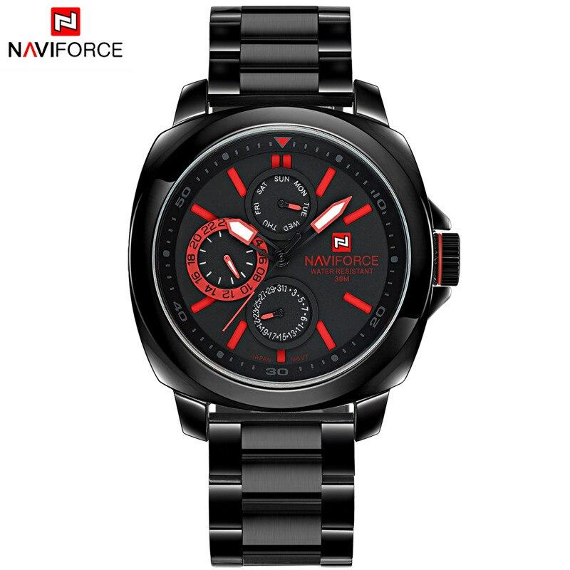 2016 New Fashion Men Watches Full Steel Men's Quartz Hour Clock Analog Chronograph 24 Hours Watch Sports Military Wrist Watch