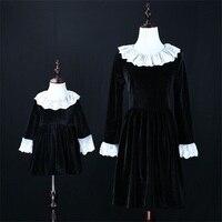 Autumn Winter Children Thick Warm Velvet Dress Women Vintage 3XL Baby Kids 1Y 16Y Dress Mother