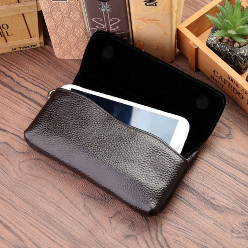 New Genuine Leather Waist Bag First Layer Cowhide Men Hip Bum Fanny Hook Pack Loop Skin Belt Case Mobile Cell Phone Bag 5509
