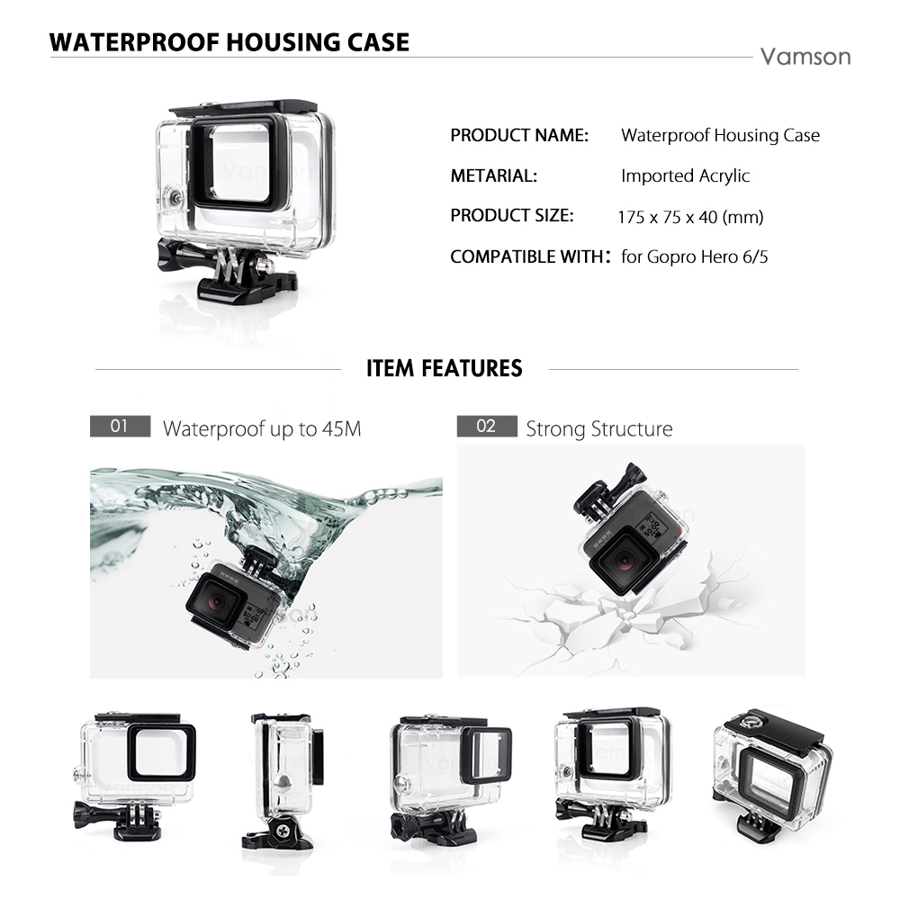 Vamson For Gopro 7 6 5 Accessories Set Waterproof Housing Protection Case Monopod For Gopro Hero 6 5 Sport Camera Vamson VS10
