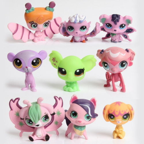 wenhsin New style 10-20pcs/set littlest pet shop doll ornaments head can move doll plastic ornaments birthday gift free shipping