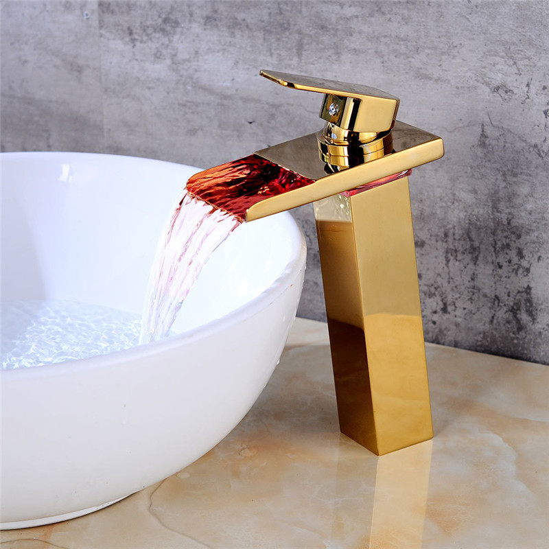 Bathroom Basin faucets With LED Light Total Brass Sink Mixer Taps Hot and Cold Waterfall Faucets Golden Bathroom Crane TorneiraBathroom Basin faucets With LED Light Total Brass Sink Mixer Taps Hot and Cold Waterfall Faucets Golden Bathroom Crane Torneira