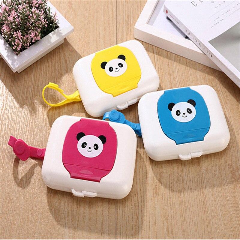 1pc panda Embroidered Portable Kids Baby Wet tissue box Wipes Dispenser Tissue Box for kids baby travel home wet tissue case