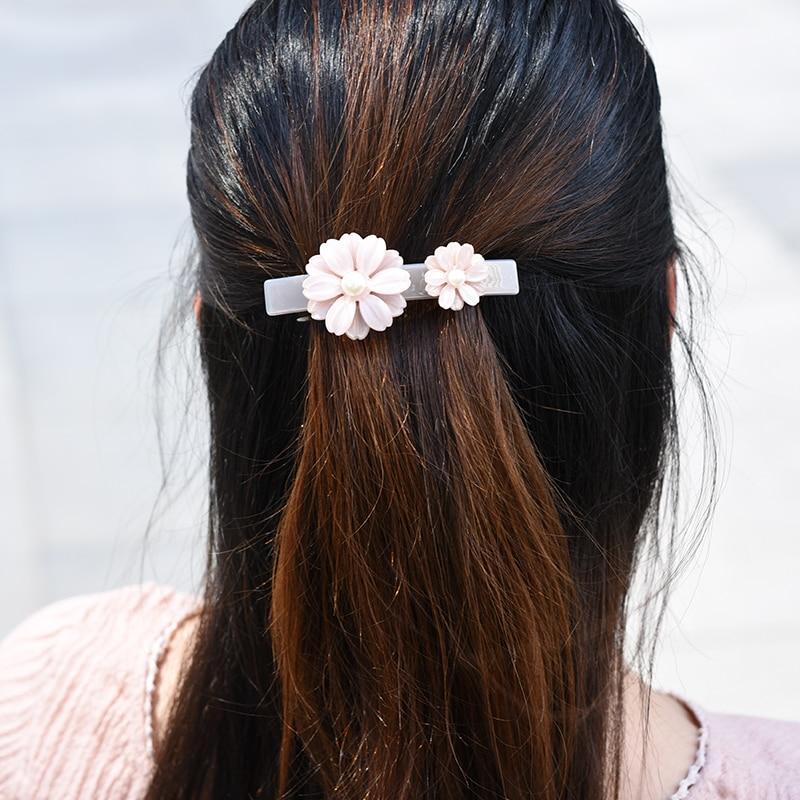 Women headwear flower hair accessories cute clip pearl vintage barrettes for girls