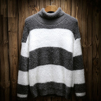 Men Turtleneck Japan Style 2017 New Winter Male Pullovers Vintage Preppy Style Loose Sweater Teenage Boy
