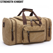 все цены на Large Capacity Men Hand Luggage Travel Duffle Bags Canvas Travel Bags Weekend Shoulder Bags Multifunctional Overnight Duffel Bag онлайн