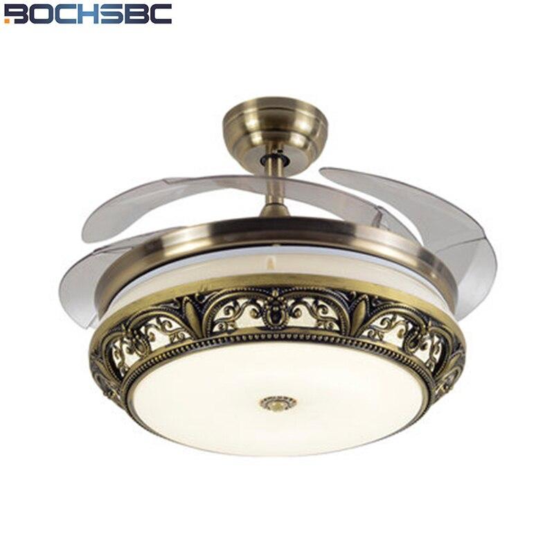 Lights & Lighting Bochsbc Stainless Steel Leaf Ceiling Fan Light Led Dimming Fan European Simple Ceiling Fan Modern Fan Light Mute Province Cheap Sales