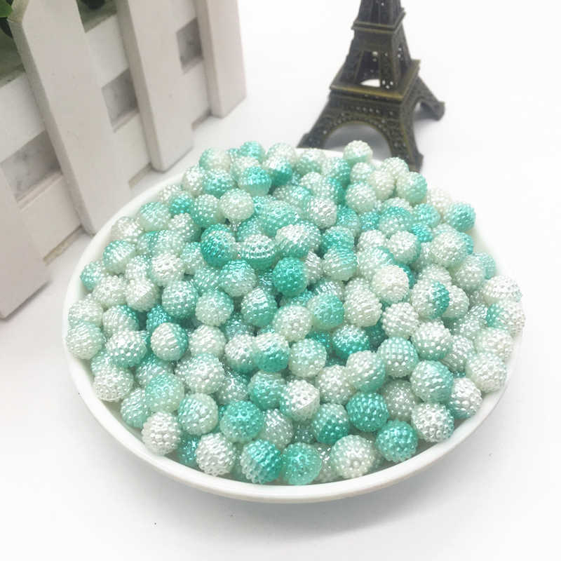 New 50pcs 8mm Two-tone Round Pearl Plastic Beads Lot Craft Jewelry Making DIY Wholesale#Light Green