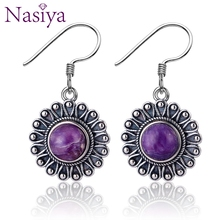 Nasiya Trendy Vintage Style Natural Charoite Beads Gemstone For Women Earrings Fine Sterling Silver Jewelry Wedding Gift