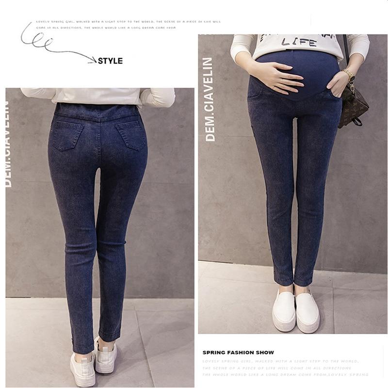 Одежда для мам; эластичные мягкие джинсы для беременных из хлопка обтягивающие, для беременных, брюки для беременных Для женщин одежда на весну и лето - Цвет: A-4