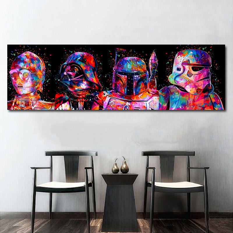 Star Wars Colorful Movie Wall Art Paint Wall Decor Canvas