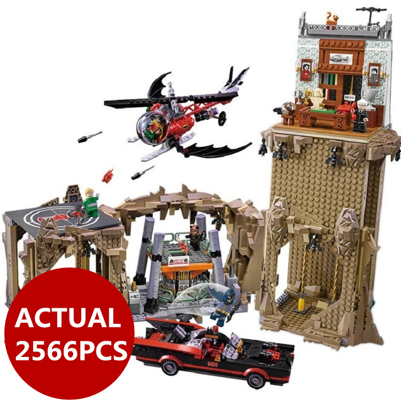 Lepin 07053 2566pcs DC Batman Super Heroes MOC Batcave Educational Building Blocks Bricks Toys 76052 birthday gifts boy toys moc 1128pcs the batman movie bane s nuclear boom truck super heroes building blocks bricks kids toys gifts not include minifig