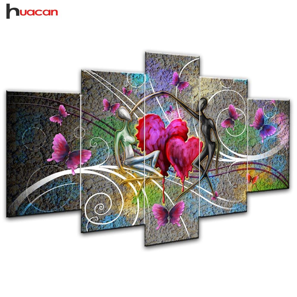 Huacan Liebhaber Diamant Malerei Hand Kreuz Stich Volle Quadrat Mosaik Multi-bild Kombination Strass DIY Geschenk