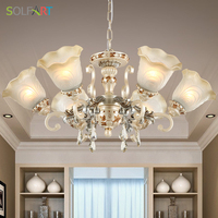 European New Classical Style Resin Metal With Frosted Glass Up Down Shade Bedroom Dining Table