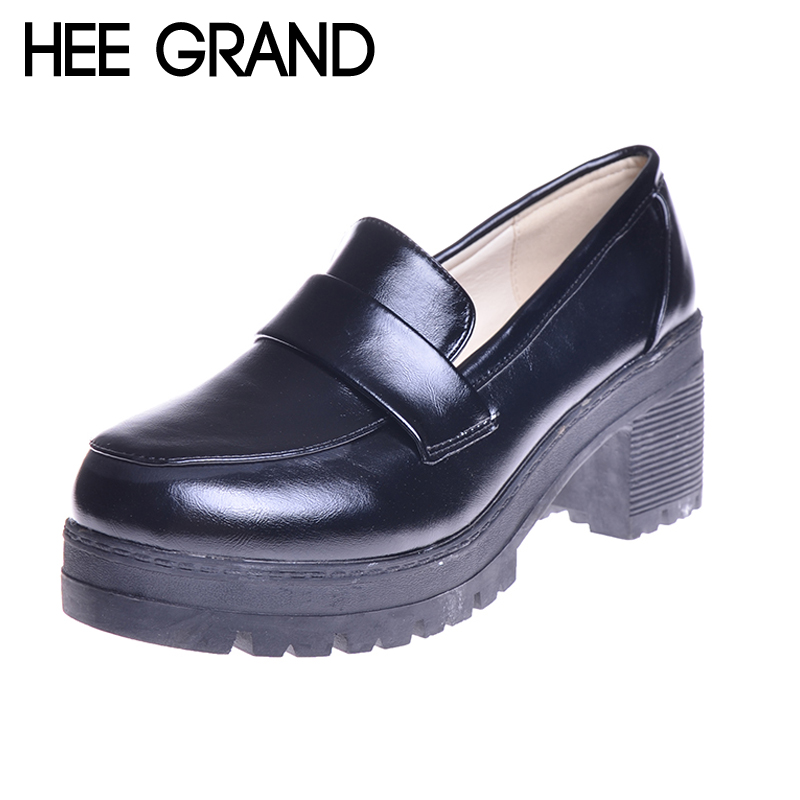 HEE GRAND Solid Color PU Leather Women's Shoes Fashion Square Heel Ladies Pumps All-match Oxfords Pumps WXG197 цены онлайн