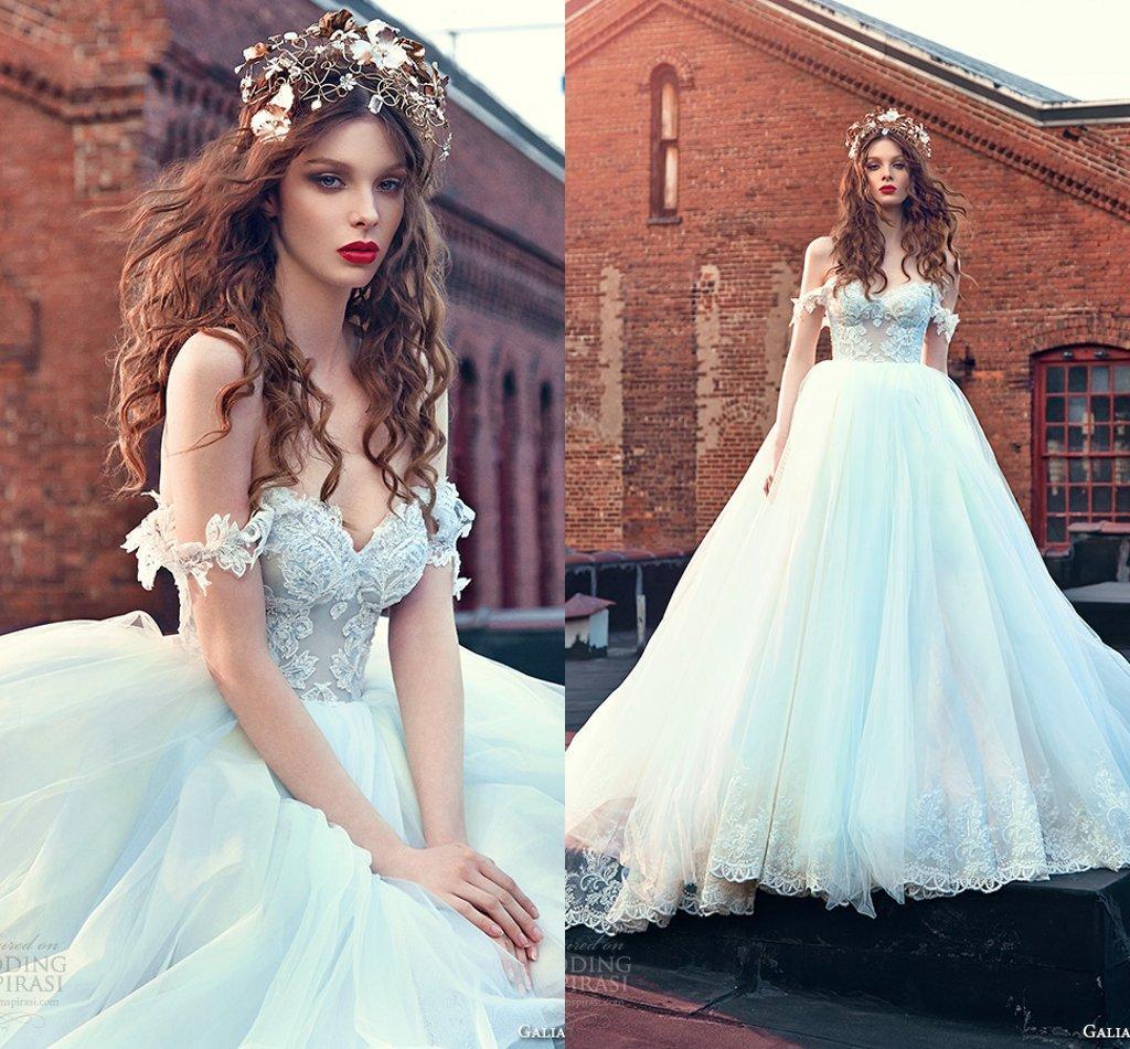 Ice Blue Lace Wedding Dresses