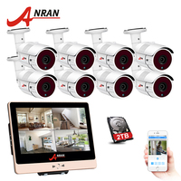 ANRAN Exclusive Sales 8CH 12 Inch LCD POE NVR Security Camera System 1080P HD Waterproof IP