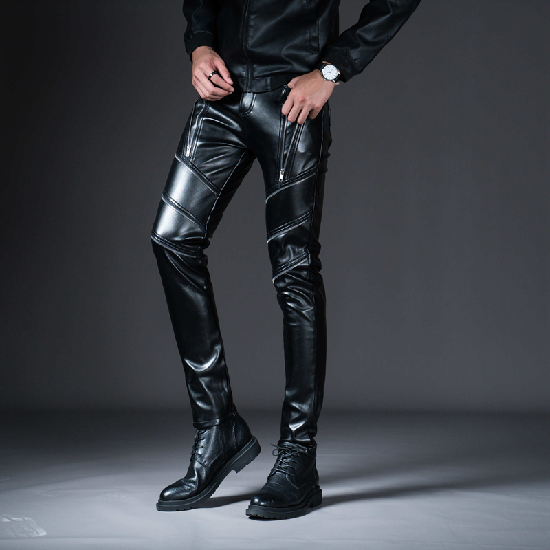 HTB1Qz4cXZrrK1RjSspaq6AREXXaC New Winter Spring Men's Skinny Leather Pants Fashion Faux Leather Trousers For Male Trouser Stage Club Wear Biker Pants