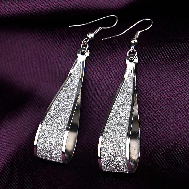 Silver/Gold Crystal Scrub Drop Hook Dangle Earrings Long earring Pendientes For Women Er838