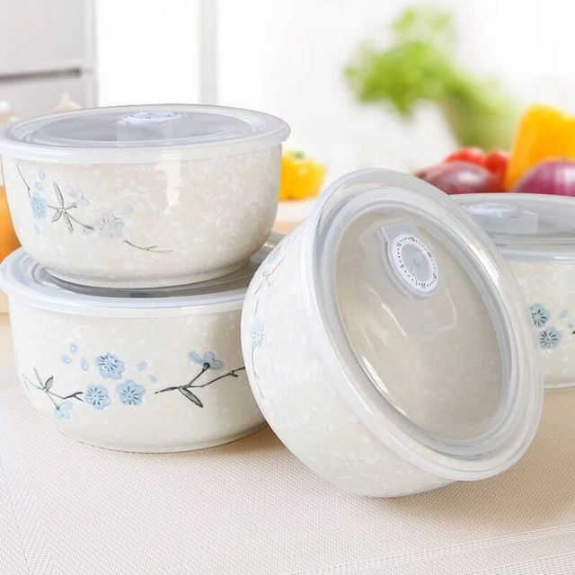 Round Bowl Under Glazed Ceramic Bowl Porcelain Rice Dessert Bowl Lunch Box Food Container With Lid & Round Bowl Under Glazed Ceramic Bowl Porcelain Rice Dessert Bowl Lunch Box Food Container With Lid-in Bowls from Home u0026 Garden on Aliexpress.com | ...