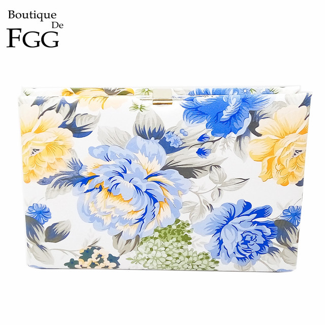 Ladies Fashion Blue and Yellow Rose Flower Print Day Clutches Handbag Women Metal Clutch Hard Case Dinner Banquet Shoulder Bag