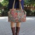 Frete grátis! Nova Fashin nacional ombro da lona casual fresco sacos de compras saco de pano flor das mulheres bolsa