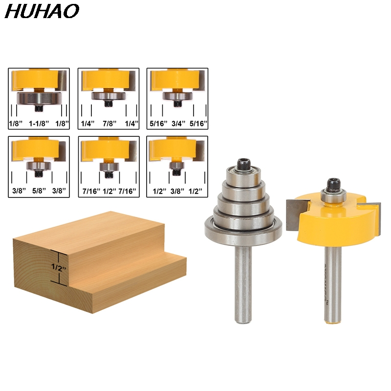 ФОТО 1lots Rabbet Router Bit with 6 Bearings Set -1/2