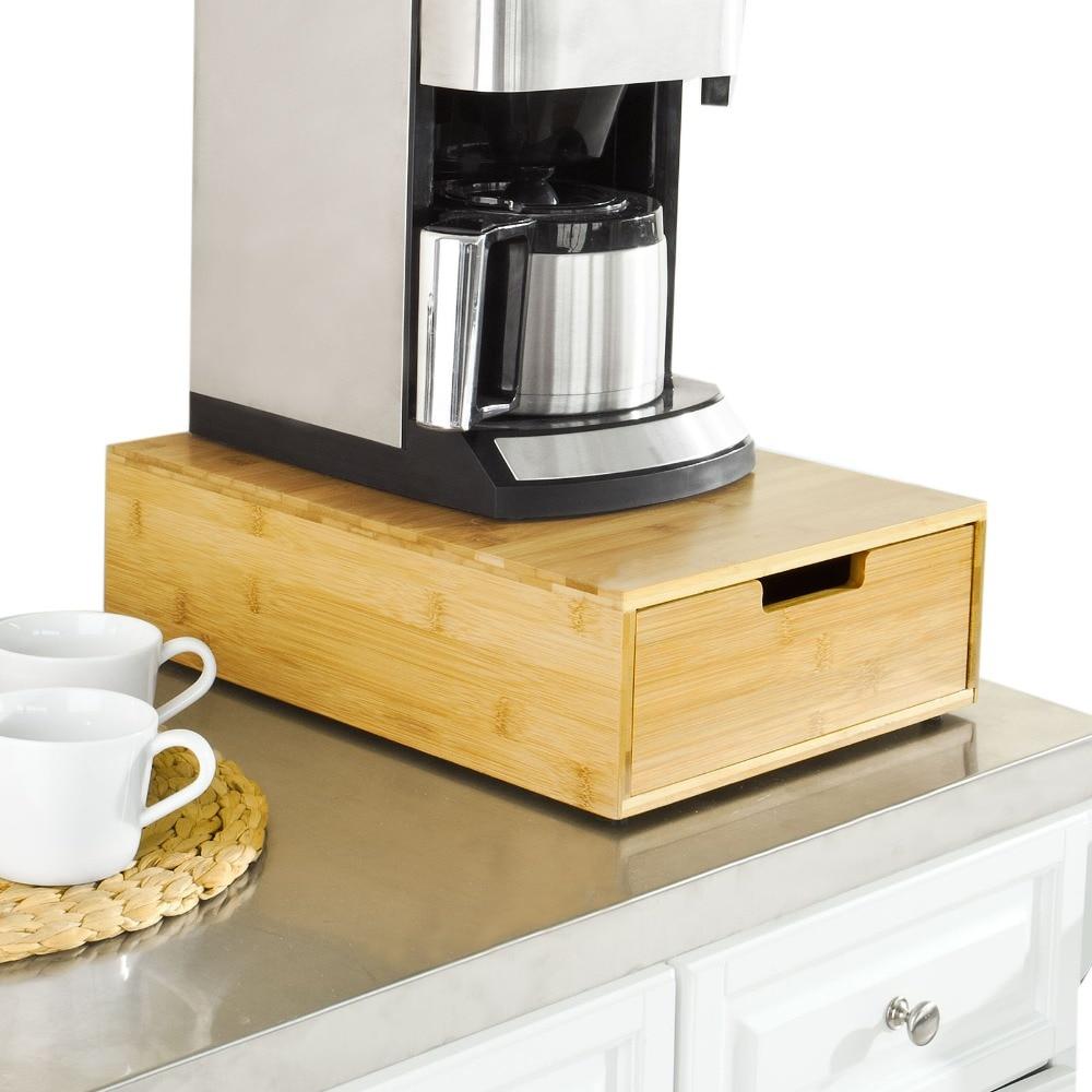 SoBuy Coffee Machine Stand & Coffee Pod Capsule Teabags Box Holder Organizer Bamboo FRG83-N