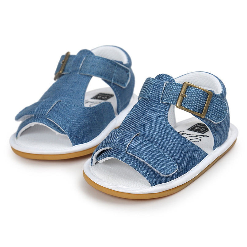 Summer Baby Shoes For Boys Toddler Infant Kids Baby Boys Solid Canvas Sole Crib Shoes Baby Boys Anti-slip Sandals Shoes M8Y11