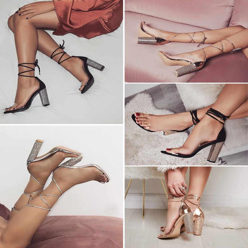 2018 Moda Kadın Sandalet 2018 açık burunlu yüksek topuklu ayakkabı Ayakkabı Kadın Temizle Şeffaf Yaz Ayak Bileği Kayış Dantel Sandalias Mujer