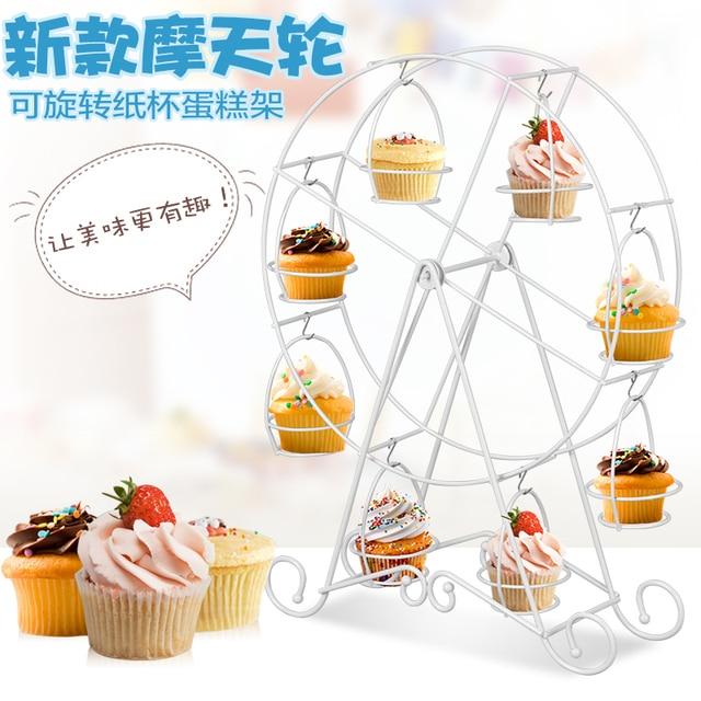 Wedding Favors 1 Set White 8 Cups Ferris Wheel Cupcake Stand