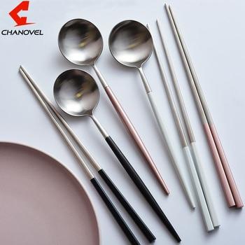 CHANOVEL 20Set 2pcs/lot Stainless Steel Chop sticks ladle Colorful Dinnerware Set Dessert ladle Scoop Long Handle Chop Sticks