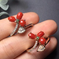 Fine Jewelry Real 925 Steling Silver s925 100% Natural Precious Coral Gemstones Female Rings Christmas Gift