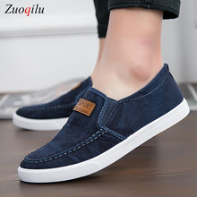 mens shoes casual Denim Male sneaker Slip on Loafers Men Canvas Shoes Breathable Soft Flat Driving Shoes mens casual стоимость