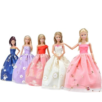 princess dress outfits doll clothes for barbie accessories play house dressing up costume kids toys gift Fashion Summer Long Dress Outfits for Barbie  BJD Doll Clothes Accessories Play House Dressing Up Costume Kids Girls Toys Gift