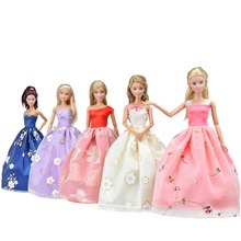 Fashion Summer Long Dress for Barbie Doll Clothes Accessories Play House Dressing Up Costume Kids Girls Toys Gift leadingstar 20 pcs lot pink hangers dress clothes accessories for barbie doll pretend play new year girls gift zk15
