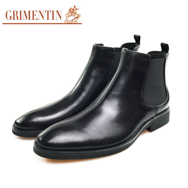 Grimentin Men Boots Pointed Toe Genuine Leather Black Business Shoes Formal Office