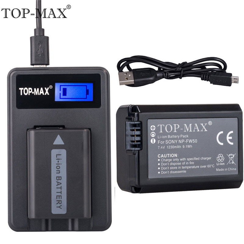 TOP-MAX 7.4V 1230mAh NP-FW50 Digital Camera Li-Ion Battery+LED Charger+USB Cable For Sony SLT-A33 SLT-A55 DSLR Alpha NEX-3 NEX-5 4pcs np fw50 npfw50 np fw50 lithium battery for sony alpha a33 a35 a37 a55 slt a33 slt a35 slt a37 slt a37k slt a37m slt a55 etc