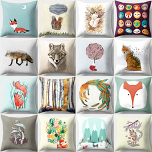 Cartoon Lovely Fox Cushion Cover Soft Sofa Car Office Decorative Animal Pillowcase Peach Skin Living Room Home Decor Accessories цены